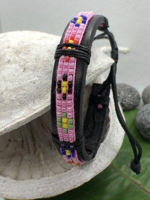 Handmade Lederen armband zwart-roze Leer