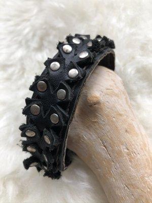 unbranded Bracelet en cuir noir-argenté cuir
