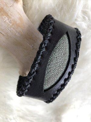 Handmade Braccialetto di cuoio nero-verde-grigio Pelle