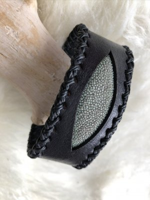 Handmade Leather Bracelet black-sage green leather