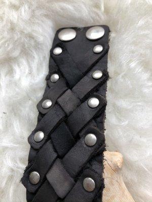 handmade Bracelet en cuir brun noir-argenté cuir