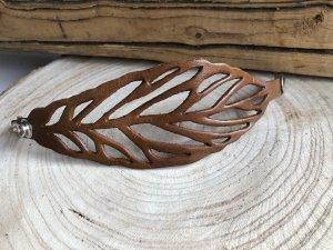 Armband Leder soft braun Blattdesign Druckknopfverschluß 20,5x5,4 cm