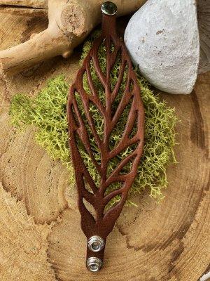 Handmade Brazalete de cuero marrón-color plata Cuero