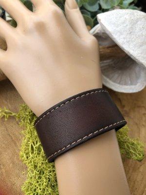 Handmade Bracelet en cuir brun foncé-argenté cuir