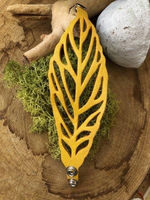 Handmade Brazalete de cuero naranja dorado-color plata Cuero