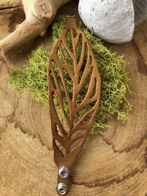 Handmade Brazalete de cuero marrón claro-color plata Cuero