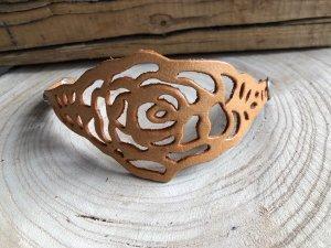 Armband Leder soft Rosen Design hellbraun Druckknopfverschluß 21x5,5 cm