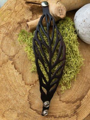 Handmade Brazalete de cuero marrón-negro-color plata Cuero