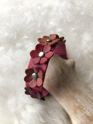 unbranded Bracelet en cuir violet-argenté cuir