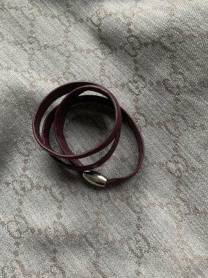 xen Braccialetto sottile argento-marrone-rosso Pelle