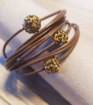 Leather Bracelet gold-colored-brown