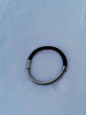 Modeschmuck Lederen armband zwart-zilver