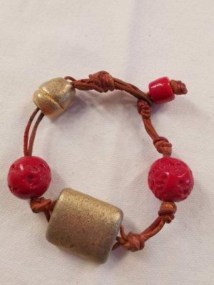 Armband Lederarmband mit Steinen braun/rot/gold handgemacht