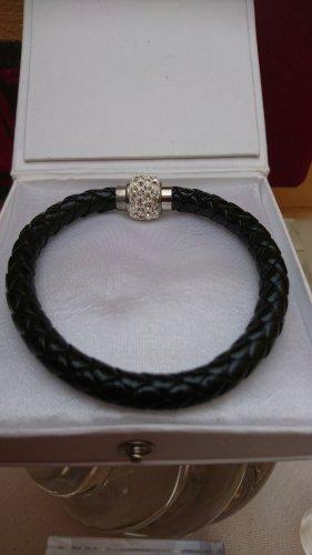 Armband lederoptik schwarz mit Strass ,Magnet Verschluss