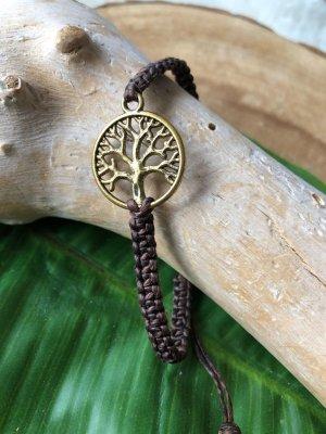 Armband messingfarbener Lebensbaum 2cm Baumwollbändchen braun