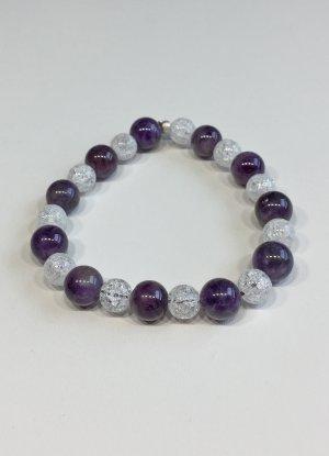 no name Bracelet en perles blanc-violet foncé tissu mixte