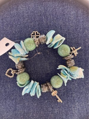 Bracelet en perles bleuet-turquoise