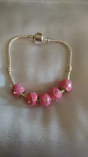 Armband mit Clip Verschlus und 5 rosa emailliert Strass Beads
