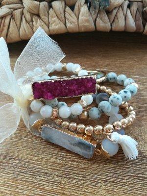 Armband mit Drusen und Natursteinen, Handmade, Unikat