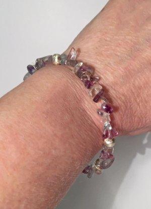 Armband mit Fluorit Splitter und versilberte Perlen, 19 cm lang