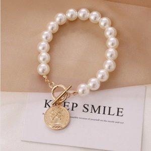Star style Bracelet en perles blanc-doré