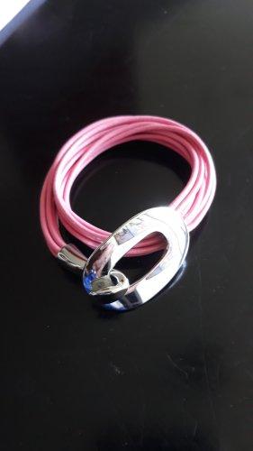Armband mit Silberschliesse, rosa Schnüre