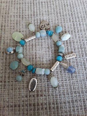 Armband mit Steinchen + Anhänger, türkis / silber