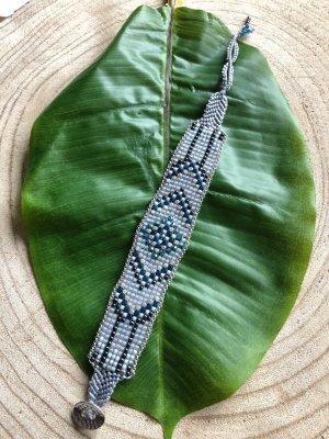 Armband Miyuki Perlen hellgrau grün silberfarben 20,5x2,2 cm