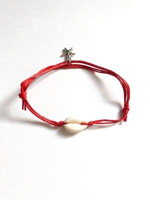 Armband Muschel & Seestern rot