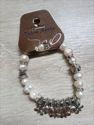 fashion jewelery Bracelet en perles argenté-blanc cassé