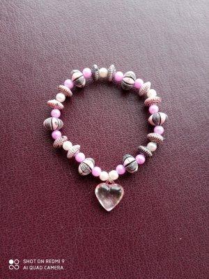 Armband rosa mit Herz-Anhänger handgemachtes Unikat