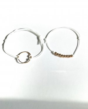 handmade Armband wit-goud