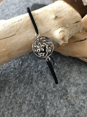 Armband Silber 925 Blütenranke Rund 1,9 cm Baumwollbändchen schwarz 3 mm