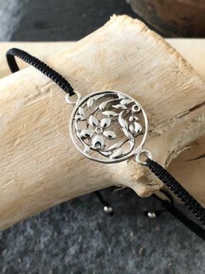 Handmade Braccialetto in argento nero-argento Cotone