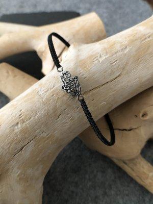 Armband Silber 925 Fatima Hand 1,8x1 cm Baumwollbändchen schwarz 3 mm
