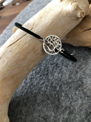 Armband Silber 925 Lebensbaum 1,7 cm Baumwollbändchen schwarz 3 mm