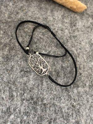 Armband Silber 925 Lebensbaum 2,5x1,4 cm Baumwollbändchen schwarz 3mm