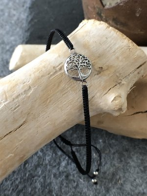 Armband Silber 925 Lebensbaum Rund 1,2 cm Baumwollbändchen schwarz 3 mm