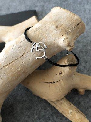 Armband Silber 925 Om Zeichen 2x1,6 cm Baumwollbändchen schwarz 3 mm