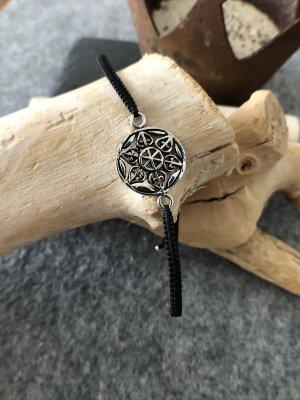 Armband Silber 925 Rund 1,6 cm Baumwollbändchen schwarz 3 mm