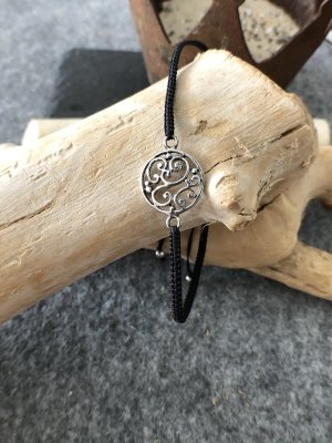 Armband Silber 925 Spiralen rund 1,5 cm Baumwollbändchen schwarz 3 mm