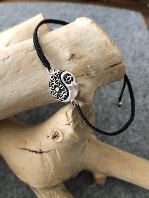Armband Silber 925 Ying Yang 1,5 cm Baumwollbändchen schwarz 3 mm