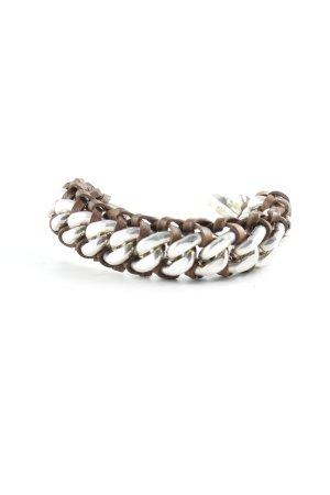Bracelet argenté-brun style décontracté