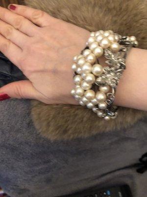 Bransoletki z perłami srebrny-w kolorze białej wełny