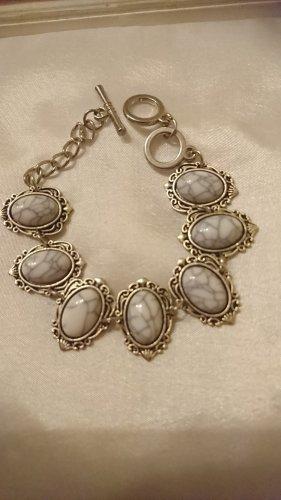 Armband türkis Steine in Grau 20 cm lang.