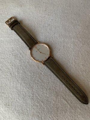 Paul Hewitt Horloge met lederen riempje roségoud-grijs Leer