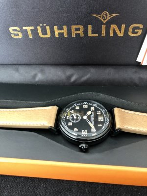 stührling Watch With Leather Strap light brown-black leather
