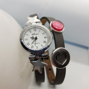 Armband Uhr Wickelarmband Slider Schiebeperle Lederarmband Cabachon Name Wunschmotiv
