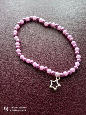 Armband violett Perlen Stern handgemachtes Unikat