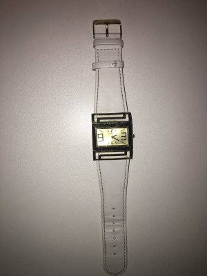 Horloge met lederen riempje wit